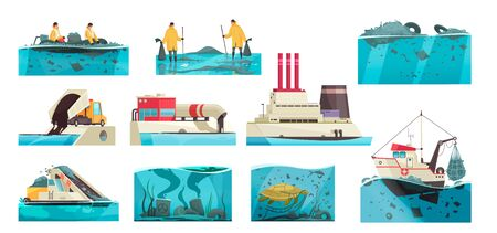 Nature water pollution set of isolated icons with flat underwater landscapes and waste collecting appliances workers vector illustration
