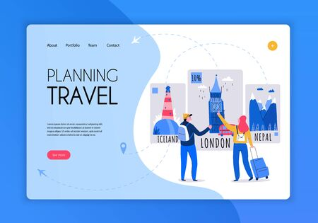Tourism travel booking concept banner or landing page with planning travel headline and see more button vector illustration