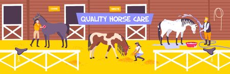 Horizontal and flat horse stable farm composition with quality hors care description vector illustration