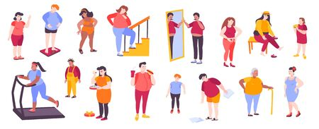 Flat set of icons with fat people measuring and weighing themselves eating junk food and doing sports isolated on white background vector illustration 向量圖像