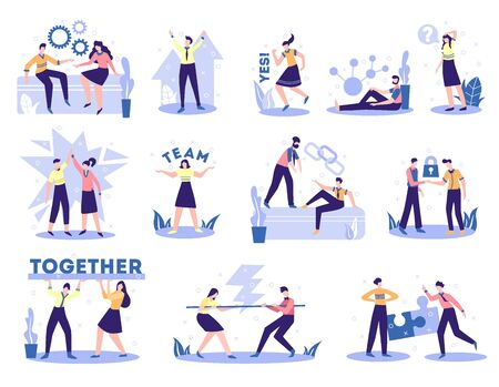 Business partnership concept 12 flat compositions set with collaboration team work support sealing profitable deals  vector illustration