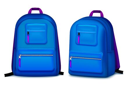 Set with two school backpack realistic images with shadows on blank background and blue college bags vector illustration Illustration