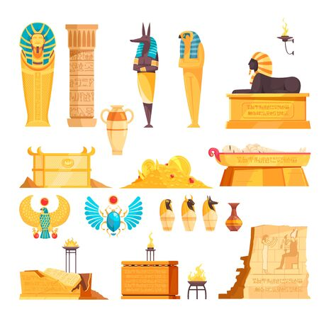 Egyptian ancient tombs elements burial chambers goods mummies etched walls gold amulets flat set isolated vector illustration