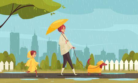 Perro que camina en la composición plana del mal tiempo con el perro salchicha del niño de la madre en la ilustración del vector del fondo del paisaje urbano de los impermeables