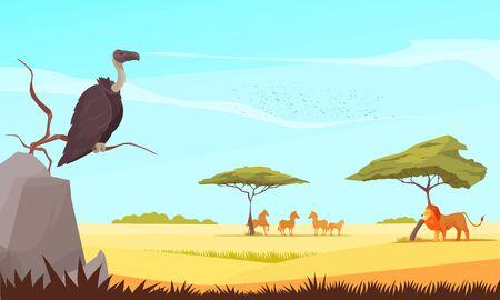 Safari reisen wilde Tiere flache Komposition mit Greifen und Löwen, die das Weiden unter Akazienantilopen-Vektorillustration beobachten