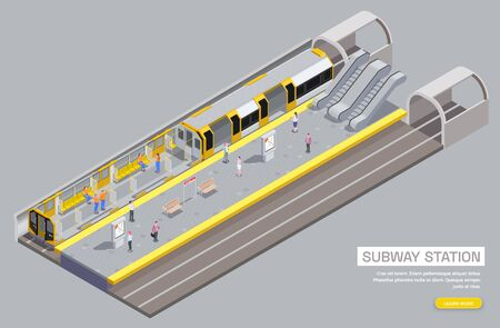 Metro station and carriage interior with escalator seats benches passengers 3d isometric vector illustration