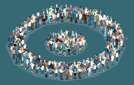 Target audience isometric concept with crowd of people with various professions 3d vector illustration Illustration