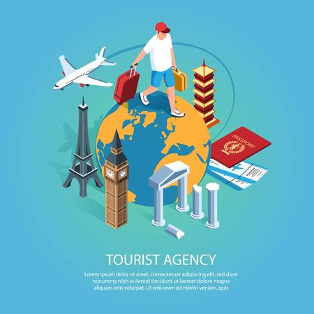 Isometric tourist agency background with editable text description and character of man walking on earth globe vector illustration Ilustração
