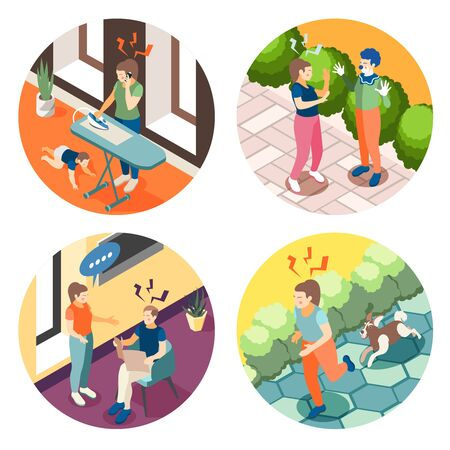 Depression anxiety 4 round isometric composition with relationship problems parenting stress street accidents panic frustration vector illustration