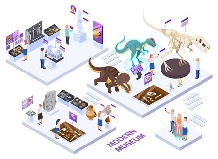 Modern natural history museum halls isometric set with fossils jars dinosaurs  interactive exhibits visitors experience vector illustration
