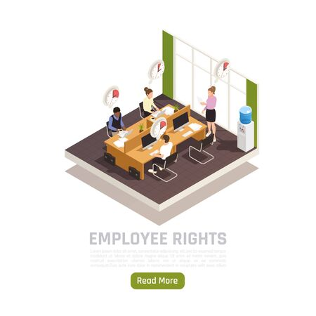 Trade labor union representative checking  employees working time tracking system regulations isometric composition office interior vector illustration Stock Illustratie