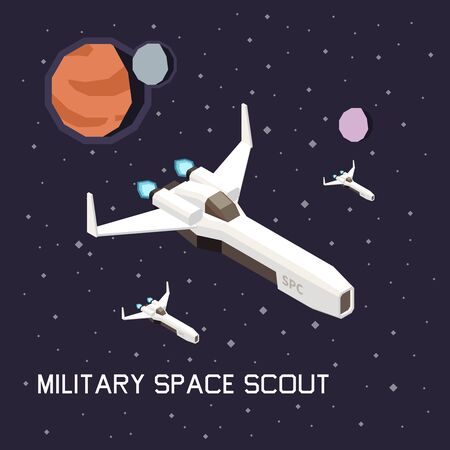 Space ship isometric composition with flying military scouts 3d vector illustration