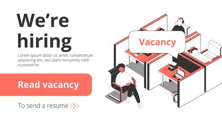 Staffing recruitment agency employment vacancies hiring service isometric landing page banner with job seeker interview vector illustration Illustration