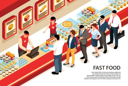 Isometric street food horizontal background with human characters standing in queue at fast food cafe counter vector illustration  イラスト・ベクター素材