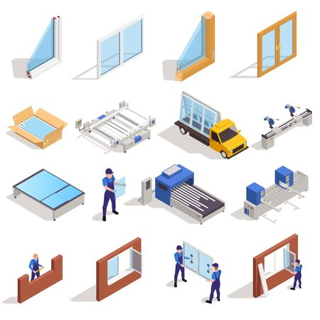 Window pvc glass manufacturing cutting panes assembling packing distribution transportation installation isometric elements set isolated vector illustration