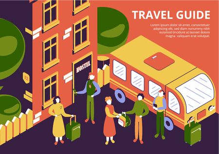 Group of tourists with luggage and travel guide arriving at hostel 3d isometric vector illustration
