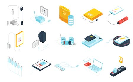 Chargers and power banks for different gadgets isometric icons set isolated on white background 3d vector illustration