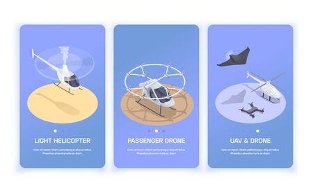 Trois petites bannières verticales de transport aérien avec hélicoptère 3d et drones illustration vectorielle isolée isométrique
