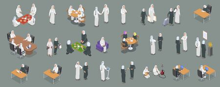Isometric icons set with arab people working talking on phone having dinner relaxing 3d isolated vector illustration Ilustrace