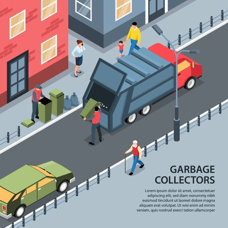Isometric garbage waste recycling background with editable text and outdoor street view with people and truck vector illustration