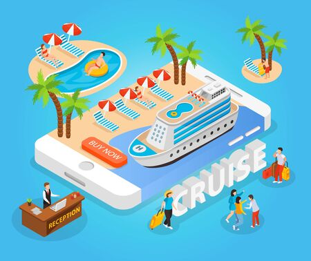 Sea cruise isometric composition with tourists  sunbathing and swimming in south sea vector illustration