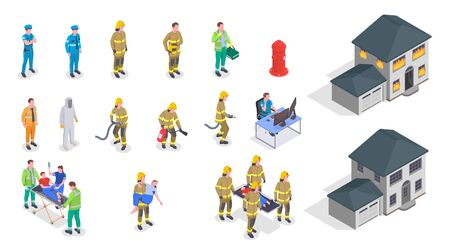 Emergency service isometric icons set with house on fire policeman firefighter doctor characters helping injured people 3d isolated vector illustration  イラスト・ベクター素材
