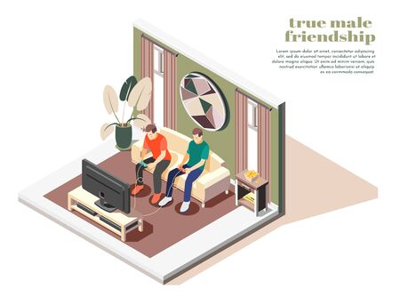 True male friendship isometric composition with men sitting on sofa and playing game 3d vector illustration
