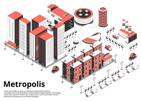 Metropolis street isometric background with text and birds eye view of modern city block with cars vector illustration