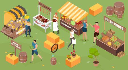 Isometrische Zusammensetzung des Bauernhofmarktes mit Landschaftsleuten im Freien und Marktständen mit Vektorillustration der organischen selbstgemachten Produkte Vektorgrafik