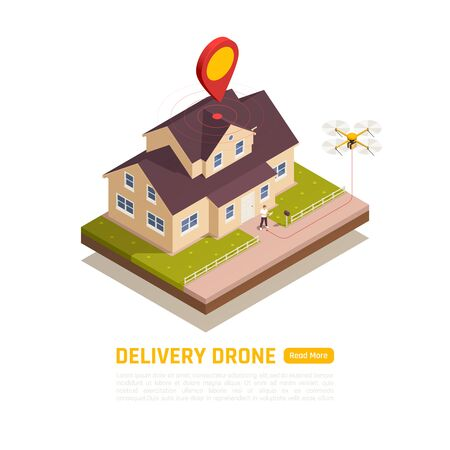 Drones quadrocopters isometric background with editable text read more button and round composition with private house vector illustration 일러스트