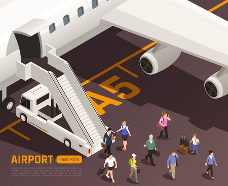 Airport isometric background with characters of people passing through airstairs truck with editable text and button vector illustration