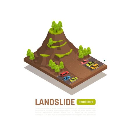 Colored isolated and isometric natural disaster concept with landslide description and button vector illustration
