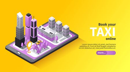 Taxi transfer booking online isometric landing page design with 3d city map on mobile screen vector illustration Illustration