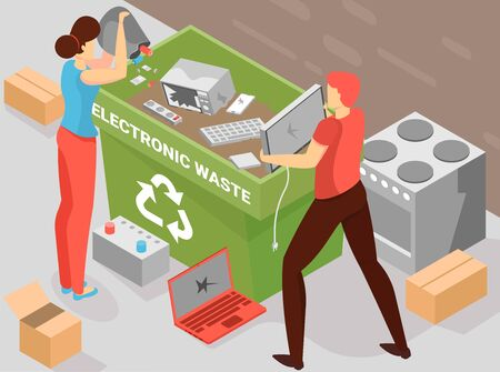 Battery recycling background with electronic waste symbols isometric vector illustration
