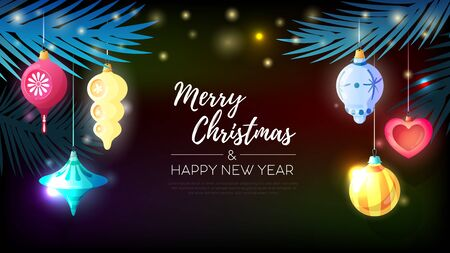 Christmas vintage retro toys horizontal poster with composition of ornate text fir needle and christmas balls vector illustration Archivio Fotografico - 135492602