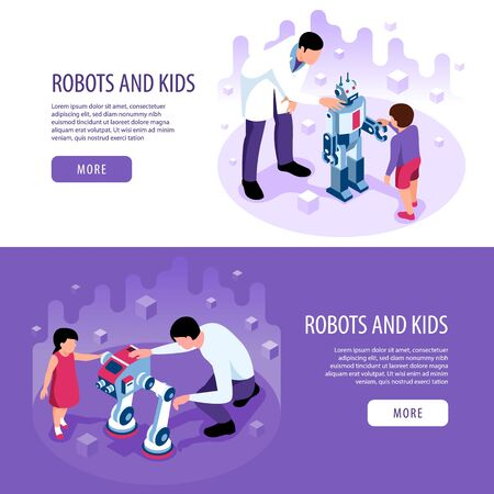 Isometric robotics kids education set of horizontal banners with more buttons editable text and human characters vector illustration