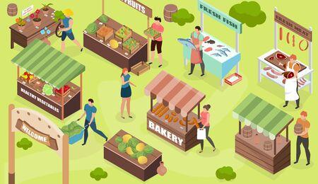 Basar isometrische Komposition mit Außenansicht von Marktständen, die Lebensmittel und Waren mit menschlichen Charakteren Vektorillustration verkaufen