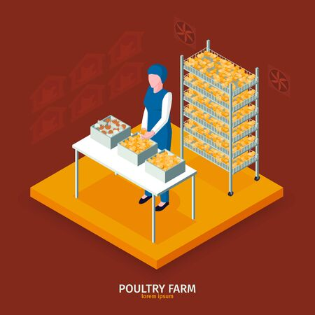 Isometric poultry farm composition with text and faceless female character in front of boxes with chicken vector illustration