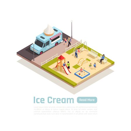 Isometric street carts trucks colored composition with ice cream truck stopped near the playground vector illustration