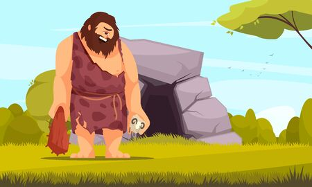 Mythical creatures flat composition with giant one eye cyclops with bludgeon in front of cave vector illustration