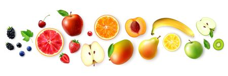 Realistic set with berries and fruits of rainbow colors isolated on white background vector illustration