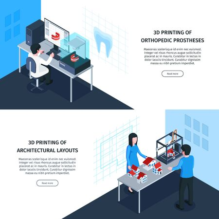 Isometric 3d printing banners with clickable buttons editable text and images of medical and architectural applications vector illustration