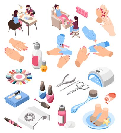 Nail artists their clients and various tools for manicure polish file lamp palette remover 3d isometric icons set isolated vector illustration