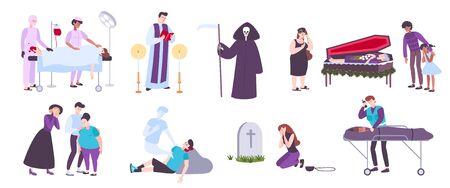 Cementerio de servicio funerario de muerte humana y conjunto de iconos planos de luto aislado en la ilustración de vector de fondo blanco