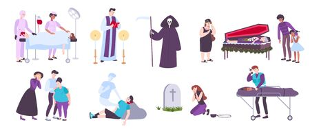 Human death funeral service cemetery and mourning flat icons set isolated on white background vector illustration