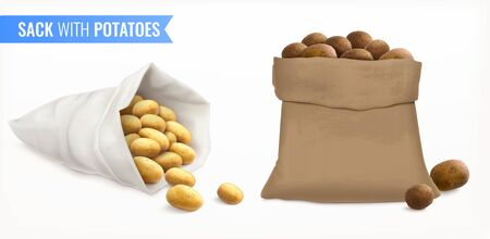 Sack with potatoes realistic set with spuds of different fluke and colour with text and bags vector illustration