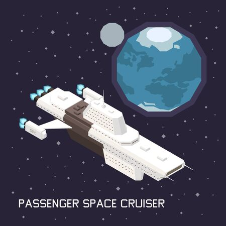 Isometric composition with big space ship transporting passengers 3d vector illustration Illustration