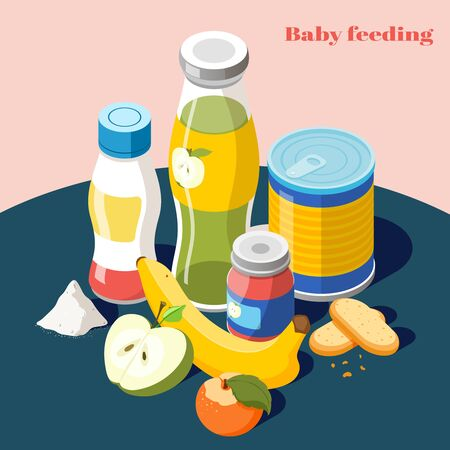 Baby feeding products for infants kids isometric advertising composition with milk powder fruit juice bottle vector illustration 向量圖像