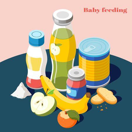 Produits d'alimentation pour bébés pour nourrissons composition publicitaire isométrique avec lait en poudre jus de fruits bouteille illustration vectorielle Vecteurs