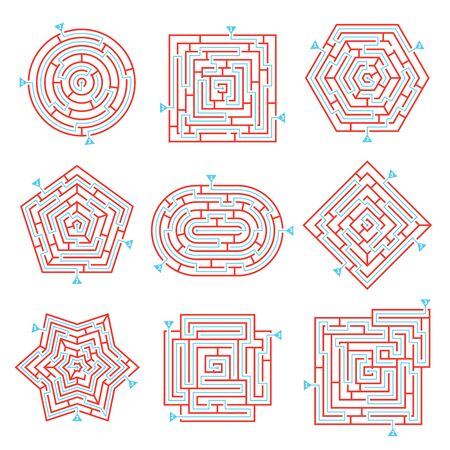 Labyrinth game way rebus set with isolated maze images on blank background with solution paths marks vector illustration